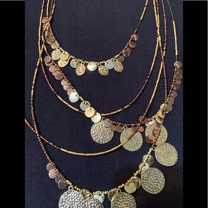 Gold and Copper 5 Stranded Decorative Necklace